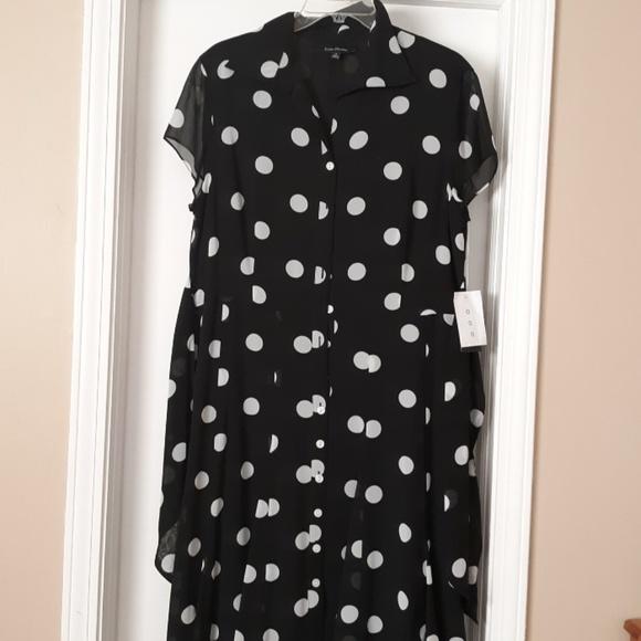 2e439b6622 NWT Evan Picone Black White Polka Dot Dress